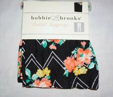 NWT Women's Black Floral Print BOBBIE BROOKS Soft Leggings Choose Size!