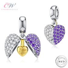 I Love You Charm Genuine 925 Sterling Silver & Purple💞 Gift Mum Wife Girlfriend