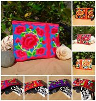 Embroidered Floral Zip up Coin Purse Wrist Strap Hmong Hill Tribe Ethnic Fabric