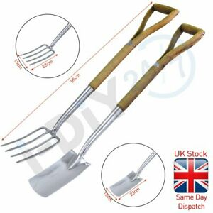 Rolson Stainless Steel Border Spade/Fork with Ash Handle Garden Soil Wood Handle