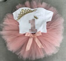 Luxury Girls 1st First Birthday Outfit Tutu Skirt Cake Smash Set Rose Gold