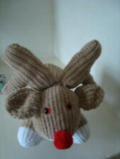 Hand Knitted Rudolph Reindeer Soft Toy - Large - Boy or Girl
