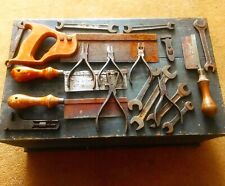 Fabulous Antique Tool Box And Some Tools Circa 1920