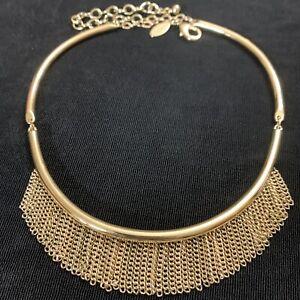 "Chico's Modernist Gold Tone Chain Fringe Bib Choker Collar Necklace 14"""