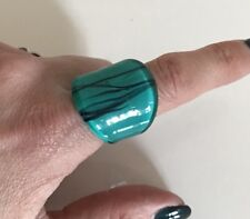 Glass Spanish Turquoise Boho Festival Summer Fashio Ring