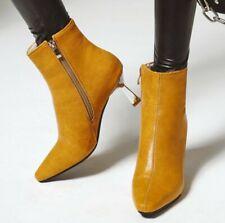 Trendy Women's Pointy Toe Kitten Heel Zipper Up Smart Office Work OL Ankle Boots