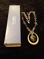 Green Pendent Necklace With Gold Chain By Lia Sophia Boxed Gift Women Gift Rare