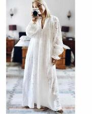 H&M Conscious Maxi Vestido Kaftan en encaje inglés Blanco Talla M 12 14 16