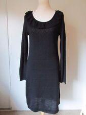 Venus Black Ruffled Neckline Long Sleeve Knee-Length Sweater Dress SZ: M