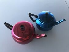 Vintage Retro Towerbrite Anodised Aluminium Teapots; set of 2