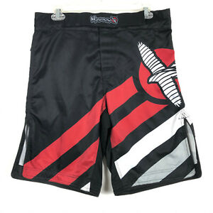 """Hayabusa MMA Chikara Fight Shorts Kickboxing Training Boxing Black Red Mens 32"""""""