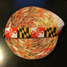 """7/8"""" Maryland Flag Terrapins Terps Grosgrain Ribbon by the Yard (Usa Seller!)"""