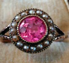 Beautiful Victorian Rose Gold Pink Sapphire & Pearl Ring. Size N 1/2