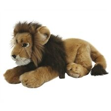 Male Lion Plush Soft Toy Animal - 45cm Living Nature Large Lying Long Facts
