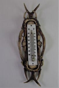 -  antiker Thermometer HIRSCHHORN DEER HORN - JAGD hunting - Reaumur/Fahrenheit