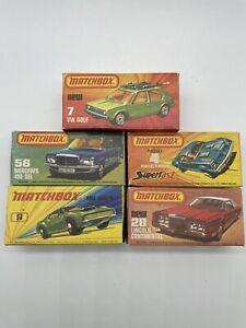 Lot of 5 Vintage Matchbox Diecast Cars Original Box VW