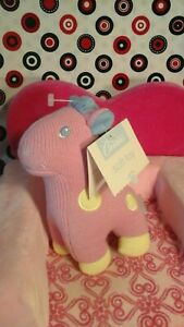 NEW NWT Carter's Pink Blue Yellow Giraffe Horse Rattle Pony Knit baby lovey