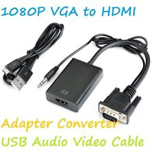 VGA To HDMI Converter 1080P HD Adapter With Audio Cable For HDTV PC Laptop TV UK
