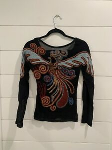 Save the Queen black mesh phoenix embroidered top