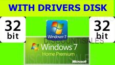 Windows 7 HOME PREMIUM (HP) 32-bit INSTALL Repair DISK + How To Videos & Drivers