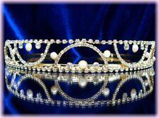 BIJOU accessoire pour mariage DIADEME DORE CHARME Cristal Perle Mariée