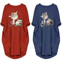 Women Cat Printing Jumper Mini Dress Baggy Pocket Pullover Long Tops Plus Size
