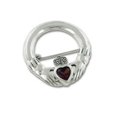 Celtic Claddagh and Genuine Garnet Heart Sterling Silver Brooch Pin