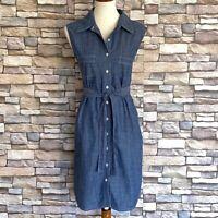 Peck & Peck Weekend Womens Denim Shirt Dress Belted Blue Chambray Sleeveless XL
