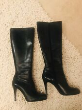 LK BENNETT Ladies Black Leather Knee High Boots Size EU 38/UK 5