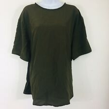 Rena Rowan Saville Womens Blouse Sz 22W Olive Green Career Short Sleeve QB3