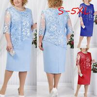 Women Summer Plus Size Lace Sequin Short Midi Dress Cocktail Evening Party Dress