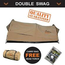 New Oz Wild Rivers Double Swag Camping Swags Tent + Canvas Bag + Head Torch