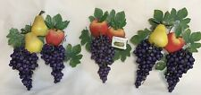 Large Fruit Wall Plaques Set Of 3 Decor Accents Metal And Resin By Collections