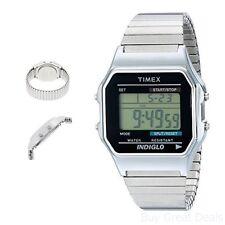 Timex Mens Wrist Watches Classic Digital Rectangular Silver Indiglo Night-Light