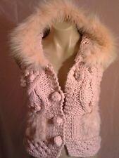 ALBERTO MAKALI knit pink jacket with hood and pink rabbit fur sz.S