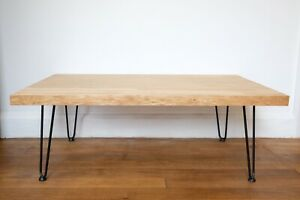Handmade Reclaimed Solid Oak Coffee Table With Hairpin Legs Mid century Style