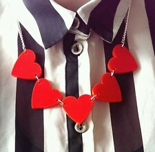 Tatty Chic Handmade Red Heart Necklace, Devine Acrylic Perspex Necklace