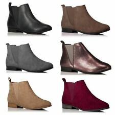 Ladies Girls Chelsea Ankle Low Heel Flat Faux Leather Suede Boots Shoes Size New