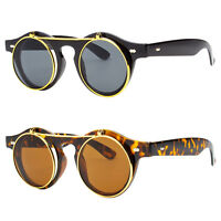 Cool Flip Up Lens Steampunk Vintage Retro Style Round Sunglasses Gold Tortoise