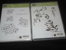 STAMPIN UP LOT CLEAR MOUNT RUBBER STAMP SETS, FLOWERING FLOURISHES & I LIKE YOU