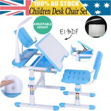 Kids Children Table Writing Desk Chair Lamp Set Drawing Storage Toddler Study AU