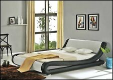 Modern Bed Frame 4FT6 Double Bedstead Faux Leather Black White Luxurious Bed New