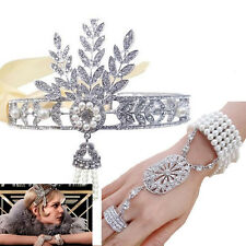 Rhinestone Women Headband Bracelet Ring Set Hair Headpiece Flapper Bridal Decor