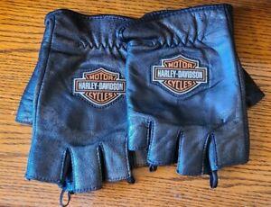 Harley Davidson Men's Size XL Black Leather Fingerless Riding Gloves Vintage