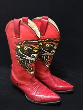 Ed Hardy Tiger Tatoo Western Red Women's Embroidered Cowboy Boots 6