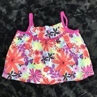 Gymboree Tank Top Girls Size 18-24 Months Spaghetti Strap Floral Flower Pink NWT