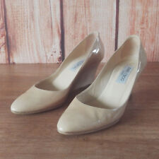 JIMMY CHOO Allen Pat 37 Nude Wedge Heel Patent Leather Pointed Toe Pumps