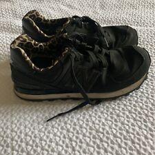 Womens NEW BALANCE 574 Black & Leopard Sneakers US 8 / EU 39