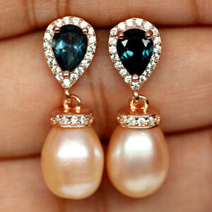 NATURAL PEAR LONDON BLUE TOPAZ PINK PEARL & CZ EARRINGS 925 SILVER STERLING