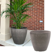 15-inch Brown Faux Stone Round Resin Garden Planter Flower Pot - 1 or 2 Pack